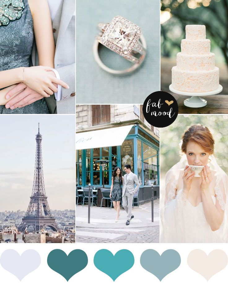 Shades of sea green and soft peach | http://www.fabmood.com/shades-of-sea-green-wedding-colour-palette/