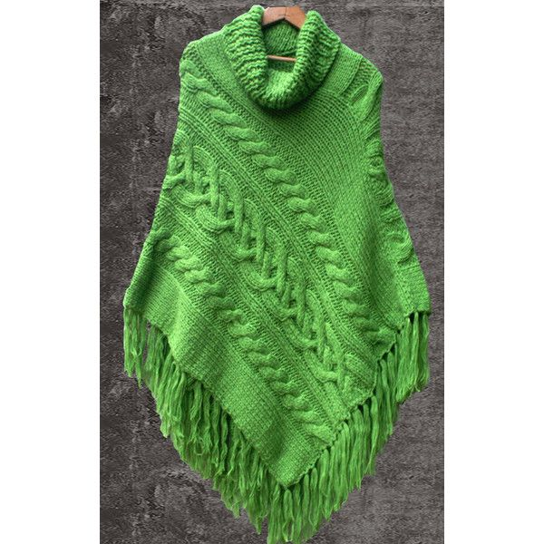Hand Knit Apple Green Cable Poncho Alpaca Blend Sweater Shawl Wrap... ($85) ❤ liked on Polyvore featuring dark olive, sweaters, women's clothing, alpaca poncho, cable poncho, alpaca wool poncho, cable knit poncho and wrap poncho