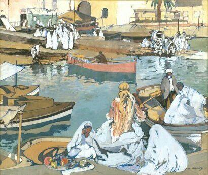 Léon CAUVY (1874-1933)  « Scène du Port d'Alger ». Technique mixte, signée en bas à droite. 46 x 55 cm