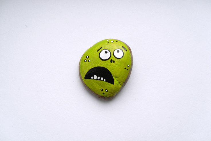 Painted Baltic Sea Stone - Jared The Terrified Rock - Mixed Media Object - Light Green Stone - Natural Home Decor - OOAK by ChestFullOfMemories on Etsy https://www.etsy.com/listing/179045145/painted-baltic-sea-stone-jared-the