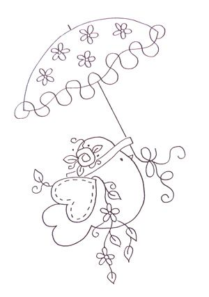 cute bird with umbrella embroidery pattern