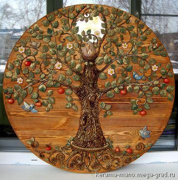 """Панно"""" Древо жизни"""" - керамика, живопись. МегаГрад - город мастеров"""