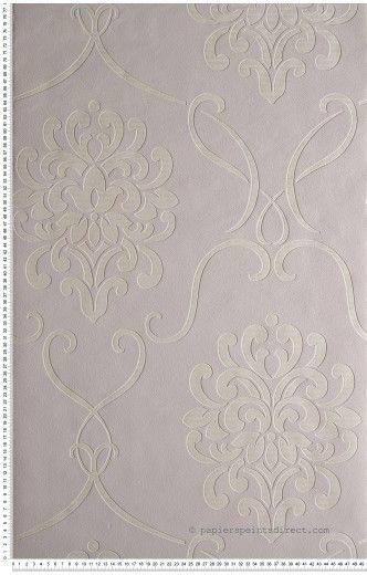 Grand médaillon baroque gris perle - papier peint Lutèce