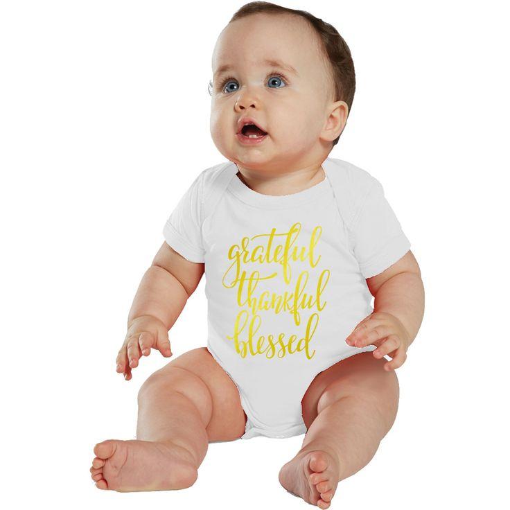 Grateful, Thankful & Blessed baby bodysuit or Shirt White/Gold by bodysuitsbynany on Etsy