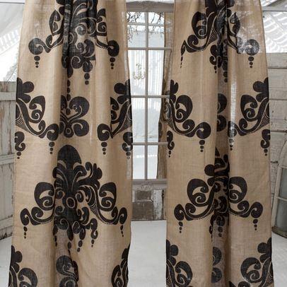 "rustic french burlap curtains   burlap curtains...jute window panels """