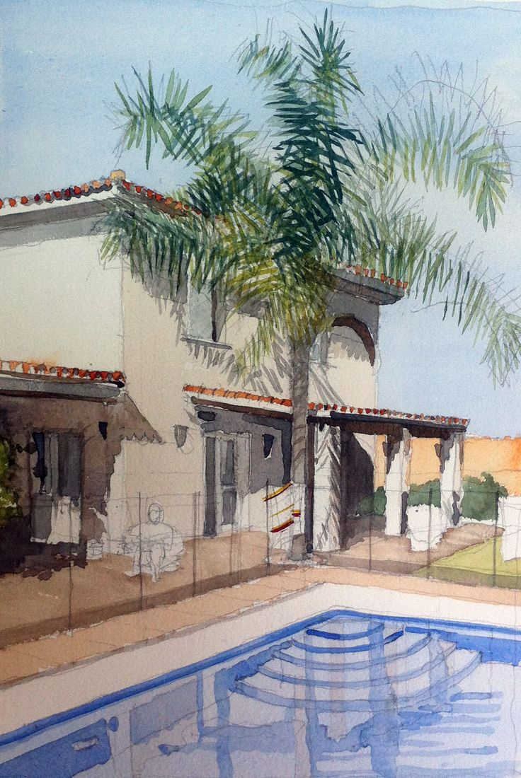 Watercolour painting of a villa in Sotogrande, Spain by Justdrawmyhouse. A 40th…