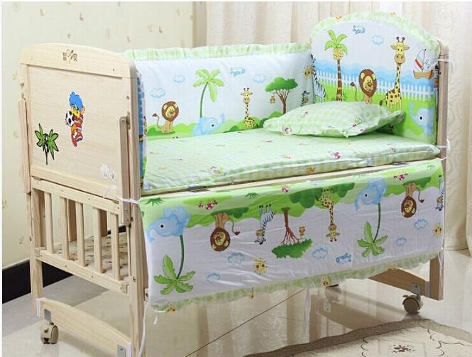 Sets #Baby Bedding Set# 100x56cm Cotton Curtain Crib Bumper Baby Cot Sets Baby Bed Bumper From Dhg2014, $31.18 | Dhgate.Com