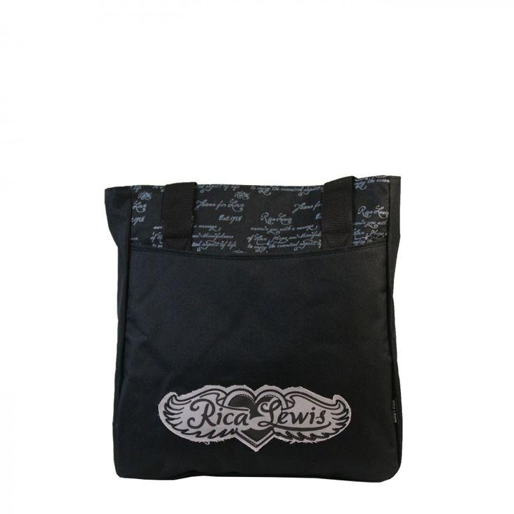 Sac à main noir Rica Lewis style cabas shopping en tissu à signatures