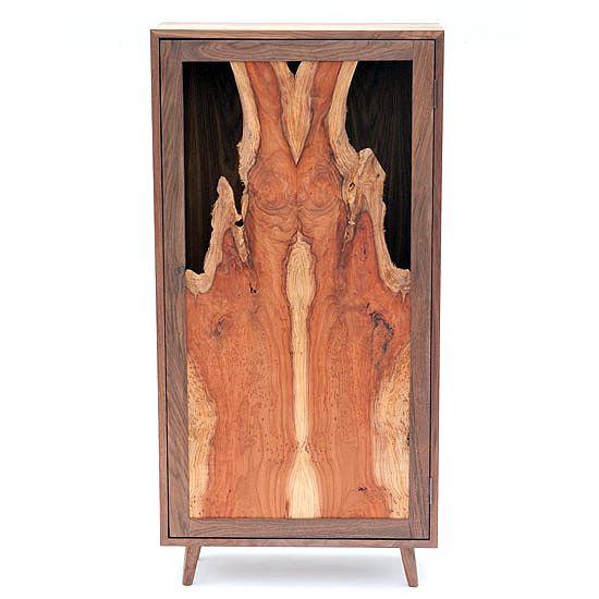 Redwood Flame Cabinet | Michael James Moran Woodworked Furniture
