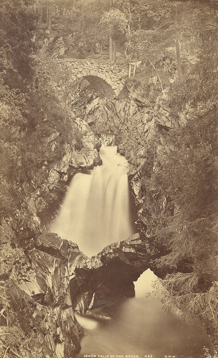 Scottish landscapes. Upper Falls of the Bruar, Pitlochry, Scotland, by George Washington Wilson. ca. 1870s.