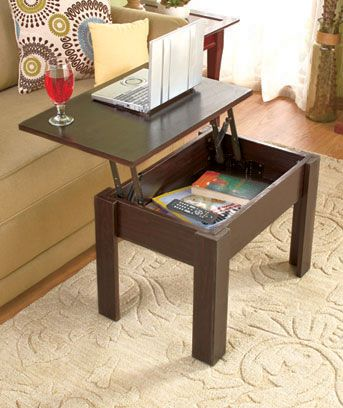 The hidden storage of the wooden Lift-Top Coffee Table helps keep clutter out of sight. The tabletop lifts to the side to access the storage compartment. The si