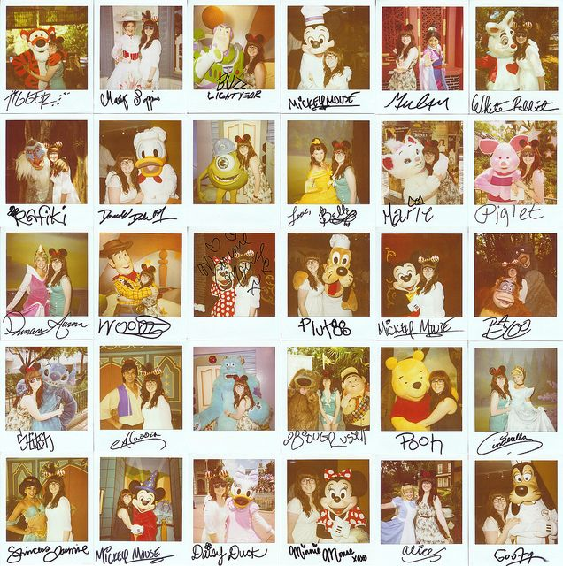 by memoirez_, via Flickr Polaroids with Disney Characters... If I ever go to Disney land again I am doing this