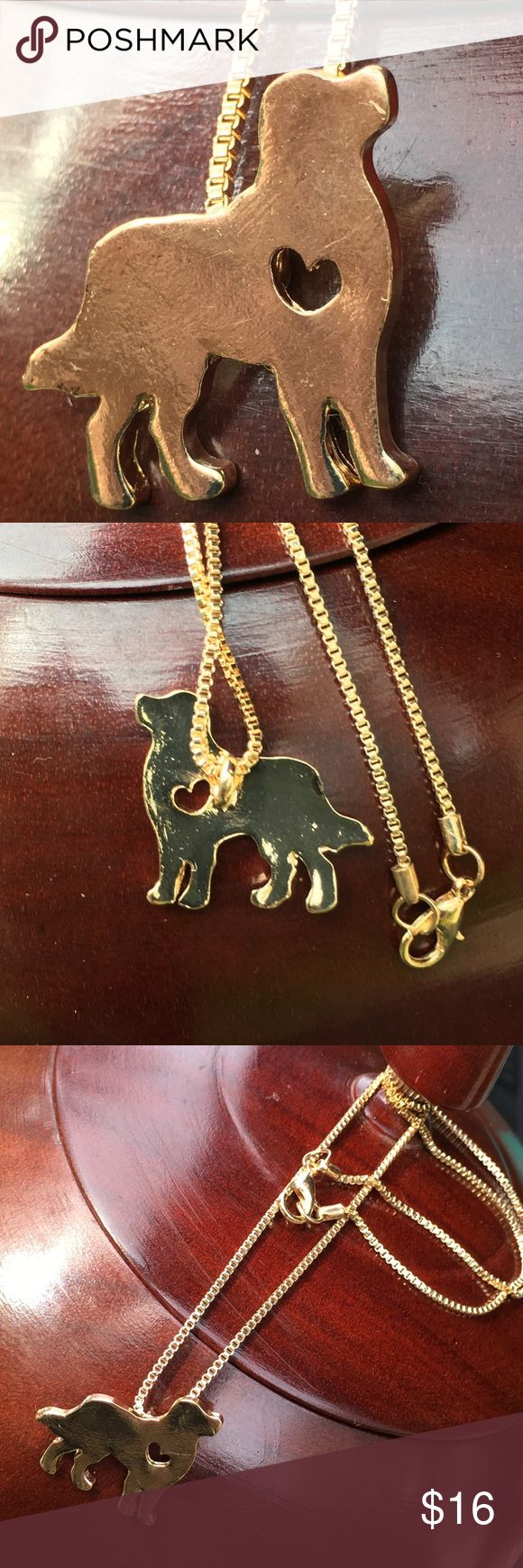 Gold Golden retriever ❤️️ love Adorable doggie necklace. On a box chain.  Perfect gift for any dog lover. love ❤️ necklace. This silhouette can represent many  breeds golden retriever, yellow Labrador,  beagle, hound, retriever,  mastiff, or your favorite mutt. Boutique items - prices are firm unless bundled. Jewelry Necklaces