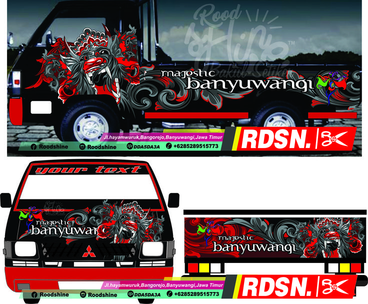 3d cutting sticker,l300 cutting sticker,stiker pickup,barong kemiren,banyuwangi,stiker mobil,cutting sticker,decal