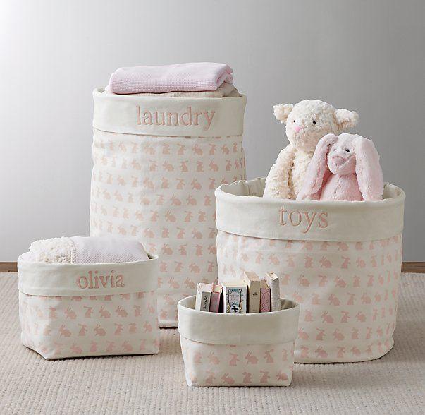 Nursery Canvas Storage - Pink Bunny                              …