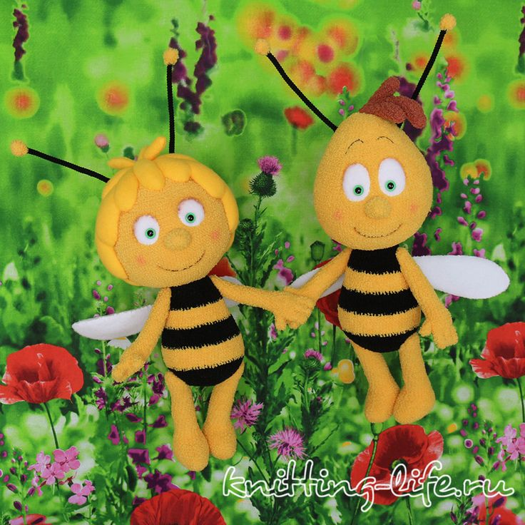 """Maya the bee and her friend Willie free amigurumi Russian pattern by «Связано по МК Анны Садовской, knitting-life.ru» """