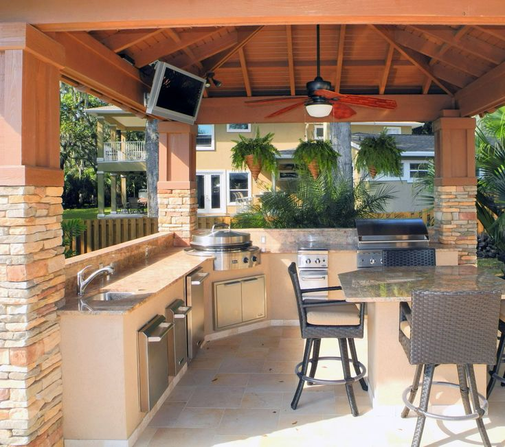Custom Built Outdoor Kitchen U0026 Pavilion With Evo Flattop Grill. Designed  And Constructed By Creative Design Space, Fleming Island FL.