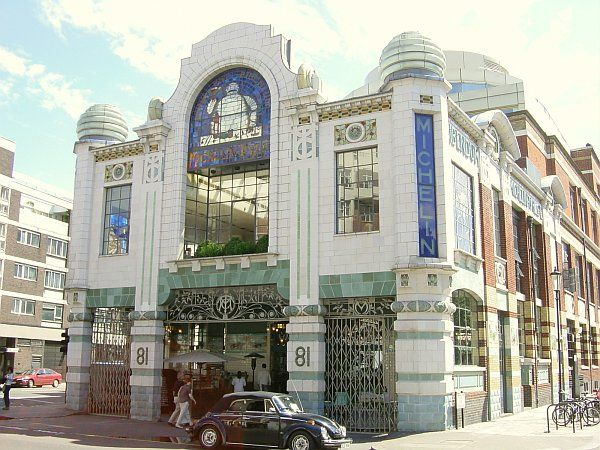 Art Deco :Michelin House - in Chelsea, London was the HQ for Michelin tyres in the UK and opened in 1911. It was reopened as a restaurant - Bibendum - & a Conran Shop in 1987. Often referred to as Art-Deco, it precedes that style by twenty years. Making it an extraordinary trend-setter. SW3, South Kensington Tube. By Jerry Desmond on Panoramio. @designerwallace