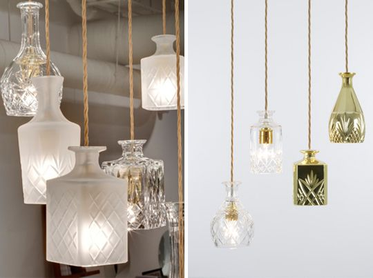 Turn old decanters into pendant lamps ... I can think of a few in our Thrift Store right now that would be AMAZING!