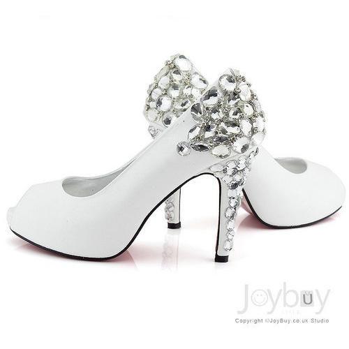 Peep Toe Satin White Wedding Shoe High Heels 10cm heel