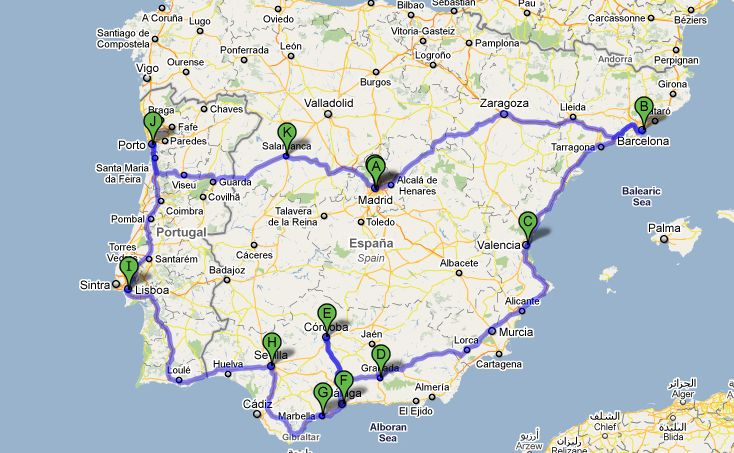 Itinerary for Spain and Portugal