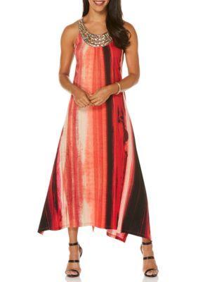 Rafaella Women's Southwest Stripe Printed Embroidered Neckline Maxi Dress - Classic Red - Xl
