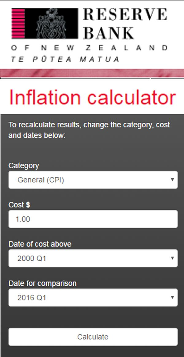 New Zealand Inflation Calculator. Can compare costs from 1862 onwards. www.memoriesintime.co.nz