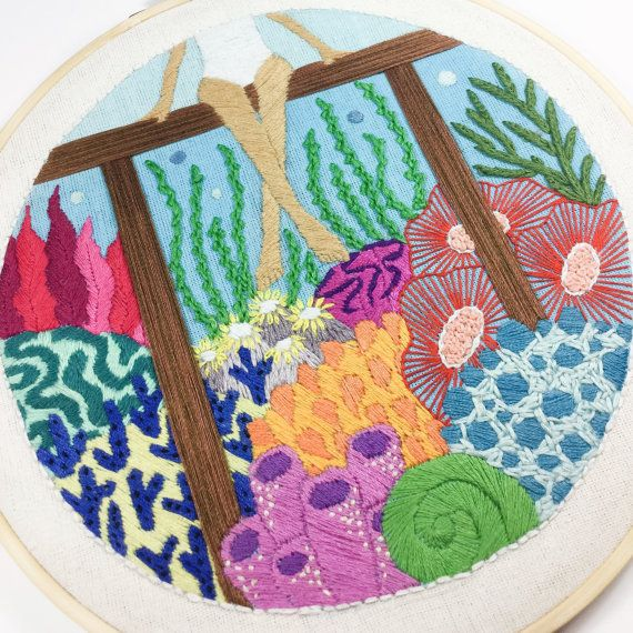 The Undersea Embroidery Hoop is a one kind special listing and will not recreate. This piece artwork framed in a 8 wooden hoop. Its ready to hang. The back stitches is covered.  Made by inspired girl who like diving and adventure ❤️  Material : Wooden Embroidery Hoop, Cotton Fabric and Cotten Floss  Shipping with Express Post Indonesia including tracking numbers.