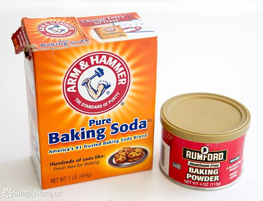Difference between Baking Soda and Baking Powder on SimplyRecipes.com. How to test if your baking soda or baking powder are still good. How to Substitute one for the other. How to make your own baking powder.