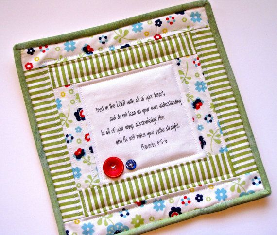 scripture mini quilt quilted mug rug by myfivelittlepeppers, $18.00