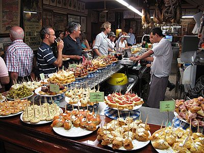 Food bar one of each please pintxos basque tapas san sebasti n spain pincho pinterest for Cuisine bar tapas