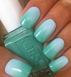 17 Fashionable Mint Nail Designs for Summer: #1. Ombre Mint Nail Design