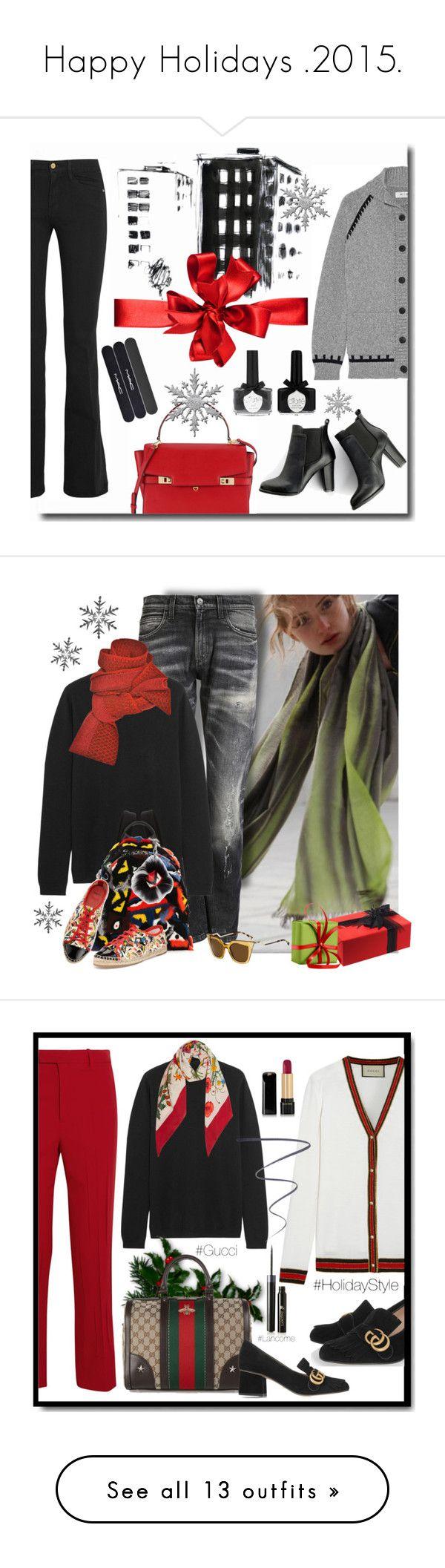 """Happy Holidays .2015."" by jacque-reid ❤ liked on Polyvore featuring Frame Denim, MiH Jeans, Henri Bendel, Burfitt, SWEET MANGO, Ciaté, nordstrom, netaporter, henribendel and Gucci"