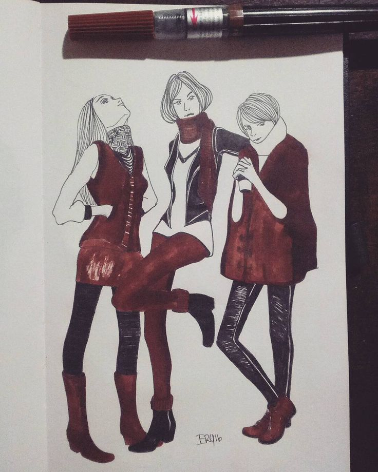 i like the many, many layers season !!  !!#winter style Sketch #skech #fashionsketches #scarfskech #winters