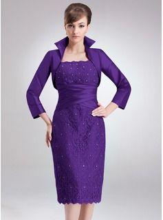 Sheath/Column Square Neckline Knee-Length Taffeta Lace Mother of the Bride Dress With Ruffle Beading (008006172) - JJsHouse