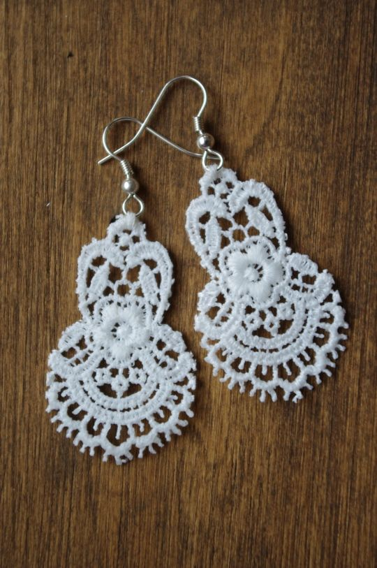 DIY Tutorial Lace Earrings. So inexpensive and easy to make using things around the house.
