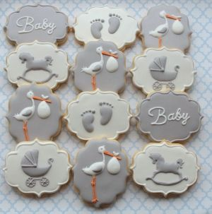 Grey and white stork themed baby shower cookies by Miss Biscuit
