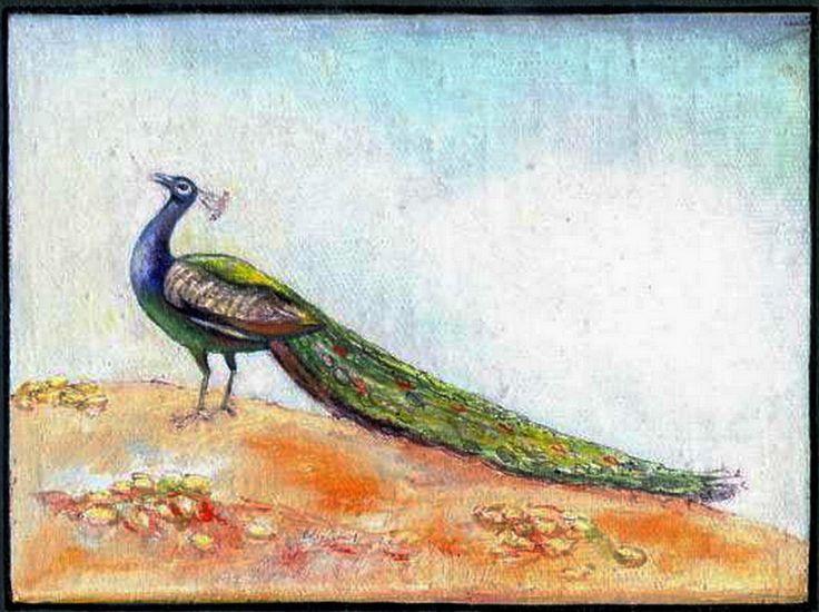 "Victor Shmokhin. ""Павлин"" 1989г Холст на картоне/масло.18,5х24,3. .( №3.854)."