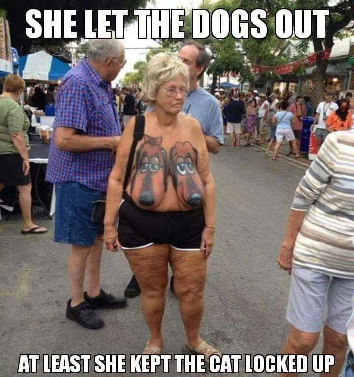 So THAT'S who let the dogs out! This is pretty gross but I was shocked enough i had to share.. on the bright side à least she kept the cat in the bag!!! :-P lol