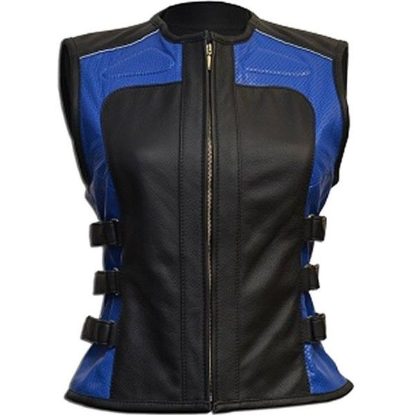 Sleekhides Women's Fashion Blue & Black Biker Leather Vest at Amazon... ($100) ❤ liked on Polyvore featuring outerwear, vests, leather waistcoat, biker vest, vest waistcoat, leather vests and genuine leather vest
