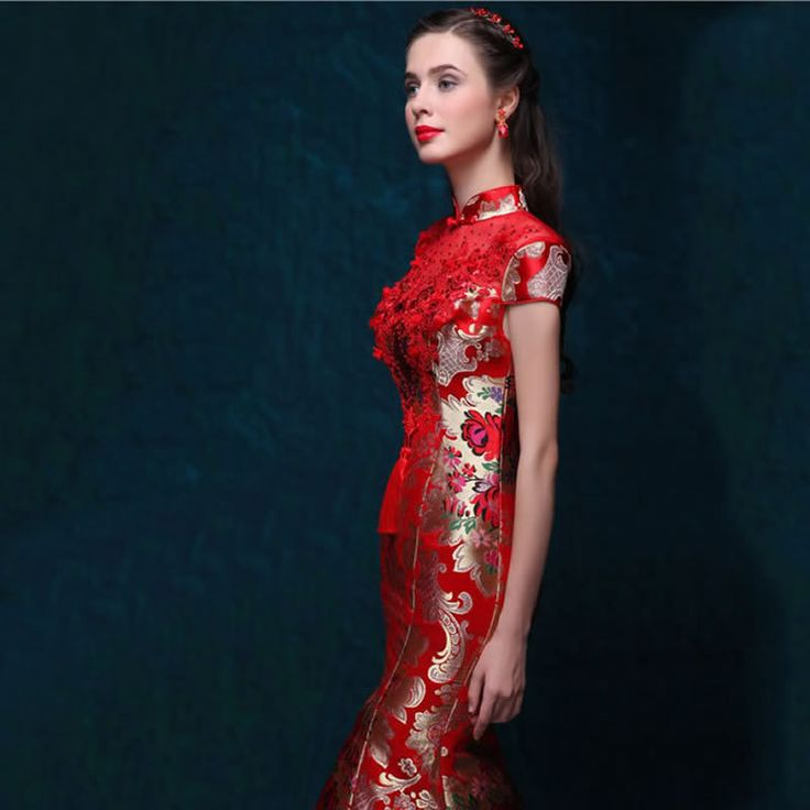 Vestido de Casamento Da Noiva de Cetim vermelho Chinês Qipao Longo Cheongsam Moderno Oriental Vestido de Noite Mulheres Vestidos Tradicionais de Qualidade Qi Pao