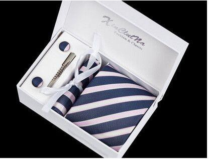 Masculinas Corbatas Jacquard Woven Necktie Set Cufflink Hanky ties Set