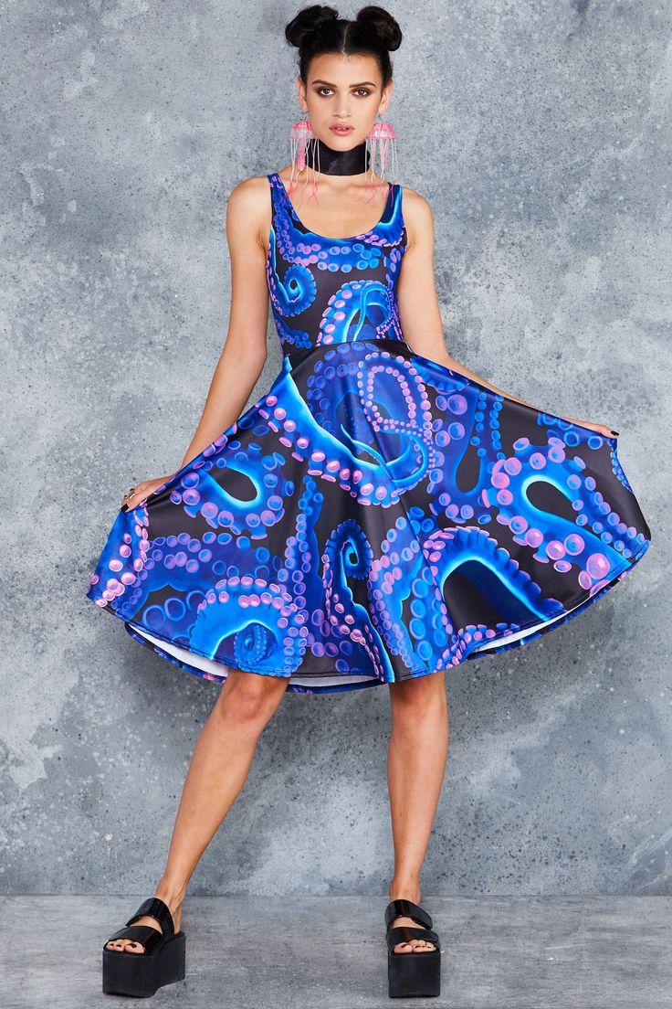 Neon Octopus Pocket Midi Dress - 48HR ($120AUD) by BlackMilk Clothing
