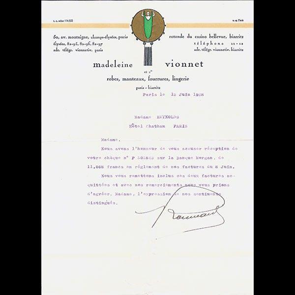 Lettre d'accusé de réception de la maison Madeleine Vionnet, 50 avenue Montaigne (13 juin 1928)