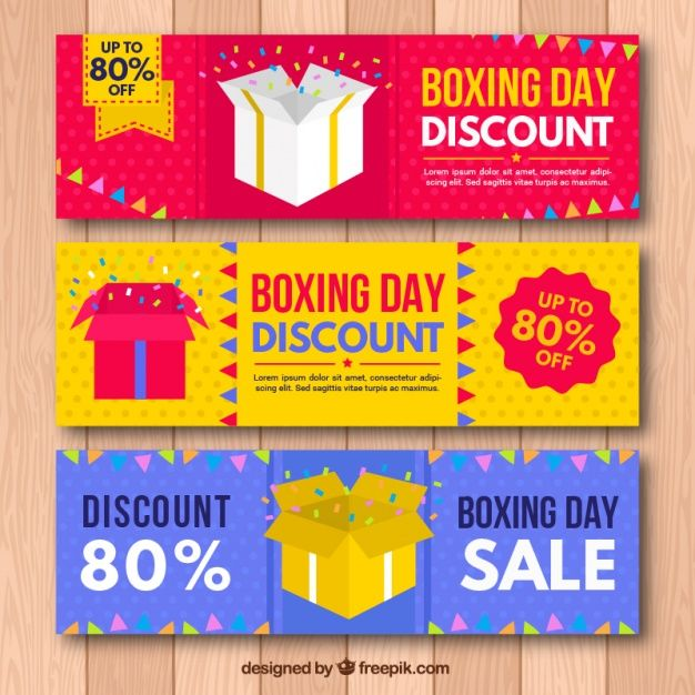 Fantastic boxing day banners with garlands and confetti Free Vector