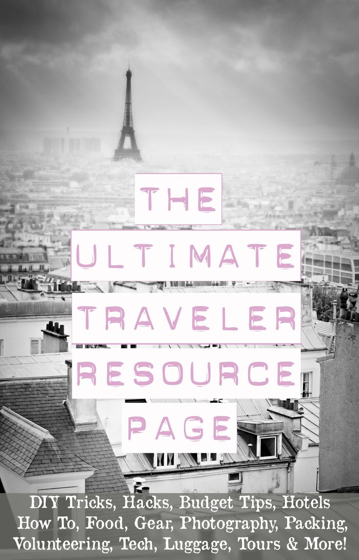 The Ultimate Traveler Resource Page >>> Travel discounts, DIY hacks, volunteering info, gear list and packing info ~ it's all right here. Great list.