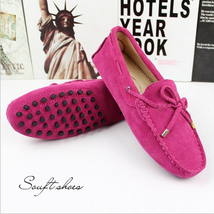 Tods souft shoes 14colors IN Bow Knot Woman Loafers Cow Suede Genuine  Leather Moccasin Flat Shoes