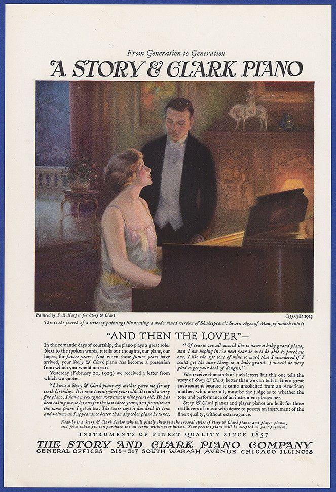 Vintage 1923 STORY & CLARK PIANO Antique Print Ad 20's #StoryClark