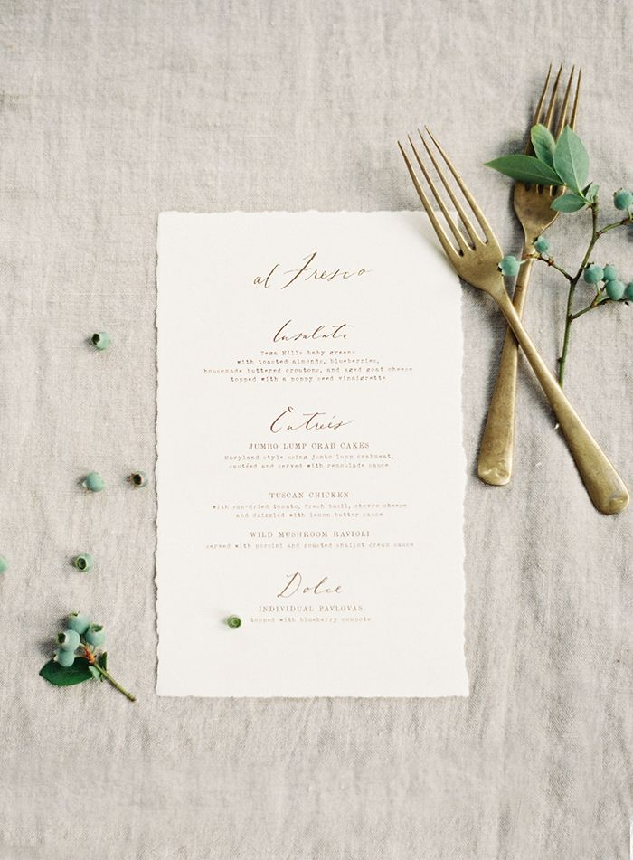 I really like the mix of the vintage typewriter font and custom calligraphy on this wedding menu. Looks really beautiful.