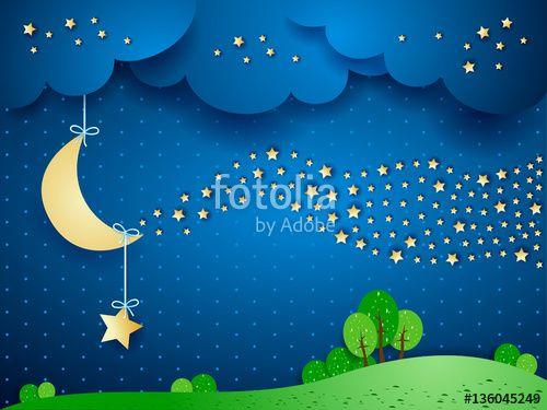 New! :) #surreal #fantasy #night #imagination #nocturne #moon #star #vector #illustration #dream https://us.fotolia.com/id/136045249